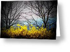 Forsythia By The Mountains Greeting Card
