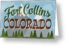 Fort Collins Colorado Snowy Mountains	 Greeting Card