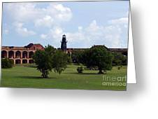 Fort Jefferson Parade Grounds And Harbor Light Greeting Card