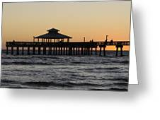 Fort Myers Beach Pier Sunset Greeting Card