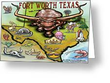 Fort Worth Texas Cartoon Map Greeting Card