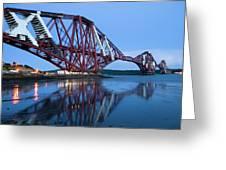 Forth Railway Bridge In Edinburg Scotland  Greeting Card