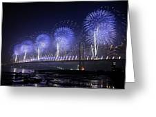 Forth Road Bridge Fireworks Greeting Card