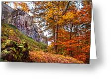 Fortification Koenigstein In Autumn Time Greeting Card