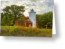 Forty Mile Point Lighthouse Lake Huron Lower Peninsilat Mi  Greeting Card