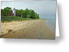 Forty Mile Point Lighthouse Springtime Greeting Card