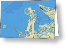 Fossil Hunter Blue Yellow Greeting Card