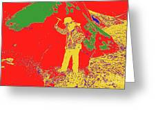 Fossil Hunter Red Yellow Green Greeting Card