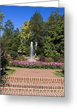 Fountain Among Flowers Greeting Card