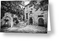 Fountain Courtyard In Eze, France 2, Blk White Greeting Card