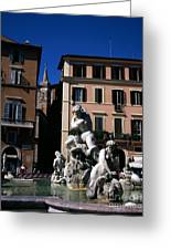 Fountain Depicting Neptune The Piazza Navona The Spire Of The Church Of Santa Maria Della Pace Rome Greeting Card