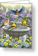 Fountain Festivities - Birds And Birdbath Painting Greeting Card by Crista Forest