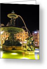 Fountain In Rossio Square Greeting Card