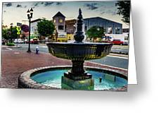 Fountain In Small Town Greeting Card