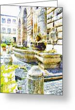 Fountain On The Facade Of The Municipality Greeting Card