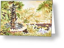 Fountain With Clay Birds Greeting Card