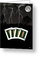 Four Aces Greeting Card by Eric Kempson