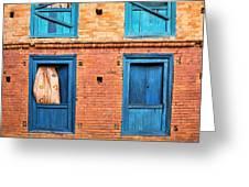 Four Blue Windows Greeting Card