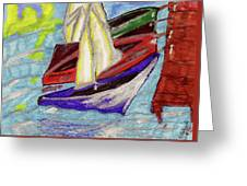 Four Boats Greeting Card