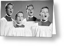 Four Choir Boys Singing, C.1950-60s Greeting Card