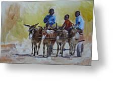 Four Donkey Drawn Cart Greeting Card
