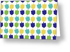 Four Dreidels Pattern- Art By Linda Woods Greeting Card