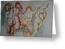 Four Female Figures Greeting Card