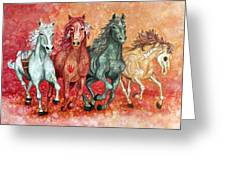 Four Horses Of The Apocalypse Greeting Card