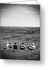 Four Ladies On A Hill Greeting Card by Meirion Matthias