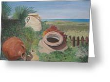 Four Little Brown Jugs Greeting Card
