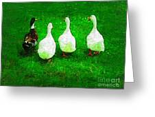 Four Little Ducks Went Out To Play Greeting Card