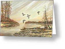 Four Mallards Over Autumn Lake Greeting Card