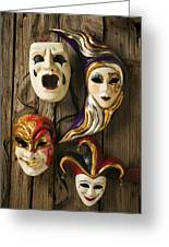 Four Masks Greeting Card