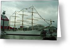Four Masted Schooner Greeting Card