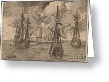 Four-master (left) And Two Three-masters Anchored Near A Fortified Island With A Lighthouse Greeting Card