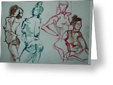 Four Nude Figures Greeting Card