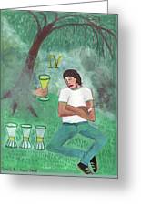 Four Of Cups Illustrated Greeting Card