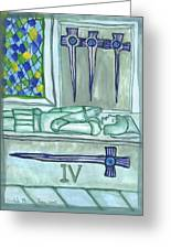 Four Of Swords Illustrated Greeting Card