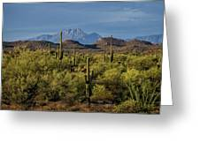 Four Peaks On The Horizon  Greeting Card