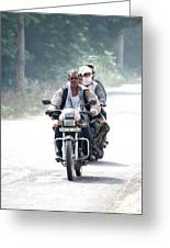 Four People On A Motorbike Greeting Card