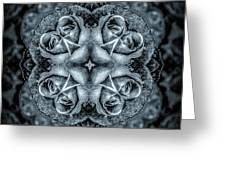 Noir Four Roses Symmetrical Focus Greeting Card