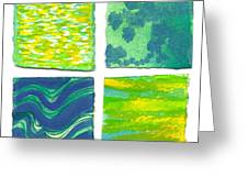 Four Squares Blue, Green, Yellow Greeting Card