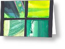 Four Squares Green, Yellow Green, Black Greeting Card