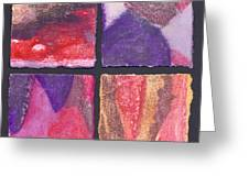 Four Squares Purple, Red, Brown, Lavender Greeting Card