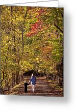 Four Year Old Boy And His Mom Walk Hand Greeting Card