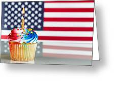 Fourth Of July Cupcake With Light Candle  Greeting Card