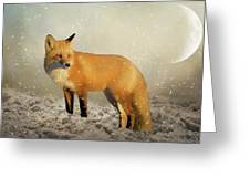 Fox In The Snowstorm - Painting Greeting Card