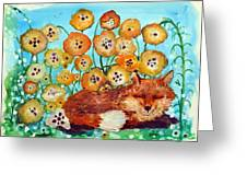 Fox Says Come And Sit With Me Greeting Card