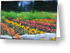 Fox Watching The Tulips Greeting Card