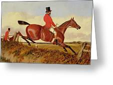Foxhunting - Clearing A Bank Greeting Card